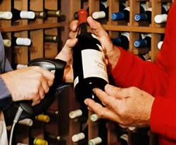 entering wine into the cellar inventory with a barcode scanner